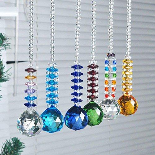 H y D 6piezas bola de cristal para colgar Prism Home Feng Shui colgante decoración de la boda hecho a mano Crafts