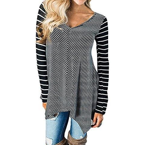 Donne camicia a righe, FEITONG V collo a camicia camicetta manica lunga irregolare Tops (nero, XL)