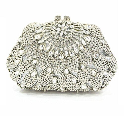 Strawberryer Europe Et Les Etats-Unis Custom Hollow Coller Drill Dinner Bag Banquet Décoré Dames Portefeuille silver