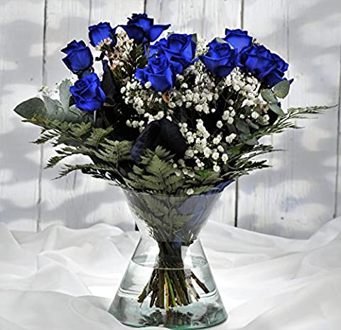 Blue Luxury Roses - Fresh Flowers Delivered UK Within 1hr