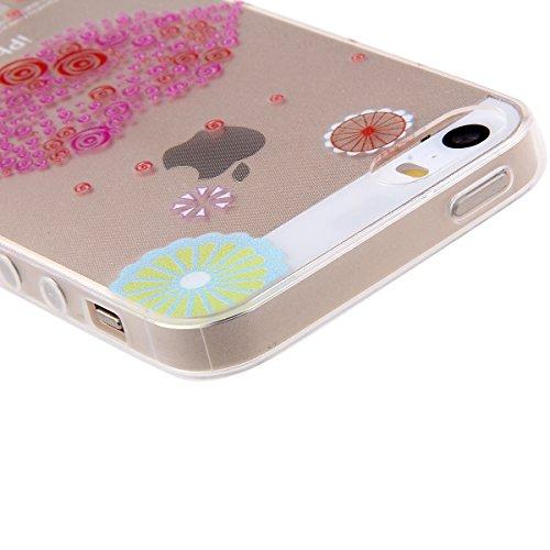 Clair Housse pour iPhone 4, Felfy Apple iPhone 4/4S Ultra mince Slim Belle Lapin cerise motif Gel Cristal Souple Soft Flexible TPU Silicone Transparent Coque Etui Protective Case Cover + 1x Rose Stylu lèvre rouge