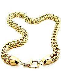 1 Collar cadena o pulsera cuadrado Bizantina de acero inoxidable Ø 9 mm en color oro 22-70 cm con bolsa de regalo