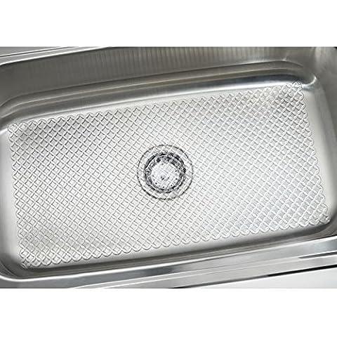 mDesign Tapis protecteur d'évier, Starry Kitchen - Très grand, Transparent