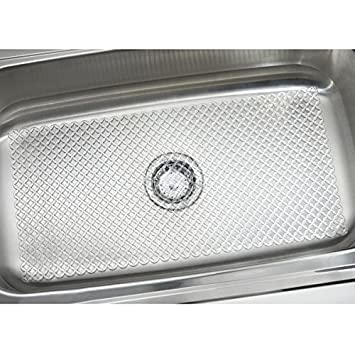 mdesign starry kitchen sink protector mat extra large clear - Kitchen Sink Protector