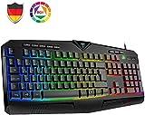 VicTsing Gaming Tastatur RGB Tastatur beleuchtete USB (DE Layout), 8 unabhängige Tasten, wasserdicht, rutschist, 25 Tasten Anti-Ghosting, PC Wired Keyboard Gamer, Windows/Mac Schwarz