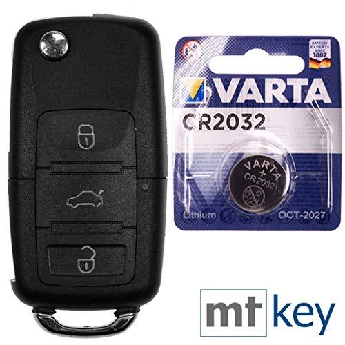 VW Autoschlüssel Funk Fernbedienung Austausch Gehäuse mit 3 Tasten + HAA / HU66 Rohling + Batterie für VW Seat Skoda (Jetta Remote-schlüssel)
