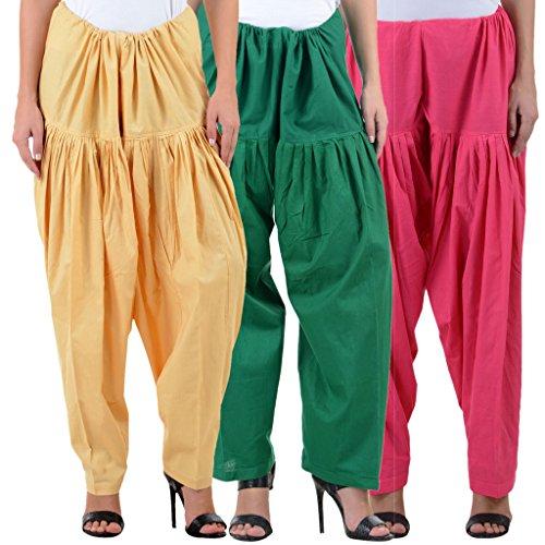 NumBrave Women\'s Cotton Semi-Half Patiala Salwar (Free Size)