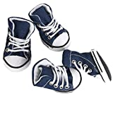#7: Generic Pet Dog Shoes Boots Sneakers Denim Blue - Size 5