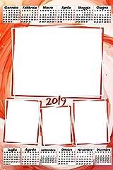 Idea Regalo - Calendario plastificato a3 personalizzato con 4 foto 2019 da parete rosso