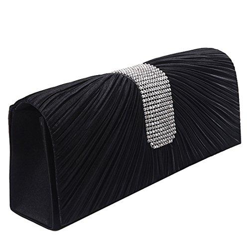YYW Satin Clutch Bag, Poschette giorno donna Black