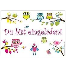 """12 Einladungskarten """"Eulen"""" zum Geburtstag / Einladungen Geburtstagseinladungen Kindergeburtstag Kinder Erwachsene Jungen Mädchen Vorlage Karten Set"""