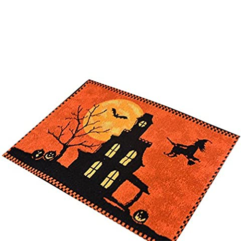 Lugii Cube chemin de table Halloween citrouille sorcière chauve-souris Housse de table Nappe Set de table Bureau Décorations d'intérieur