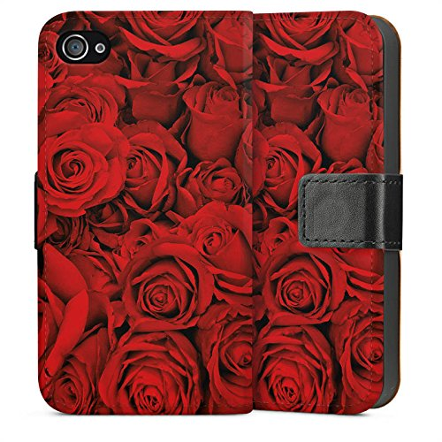 Apple iPhone 4 Housse Étui Silicone Coque Protection Rose Roses Roses Sideflip Sac