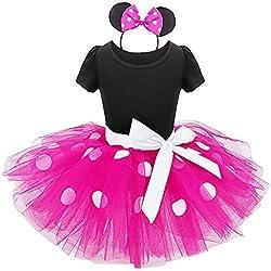 Vestidos de Princesa Fiesta Bautizo Tutú Ballet Lunares Fantasía Vestido Carnaval Disfraces para Bebés Niñas(12 Meses a 6 Años) Rosa #2 12-18 Meses