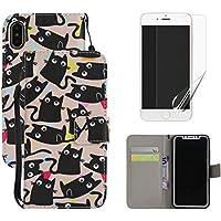 Carcasa para iPhone X Carcasa de piel y Protector de pantalla