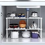 Sous évier étagère extensible de rangement en acier inoxydable Rack réglable de cuisine Organiseur