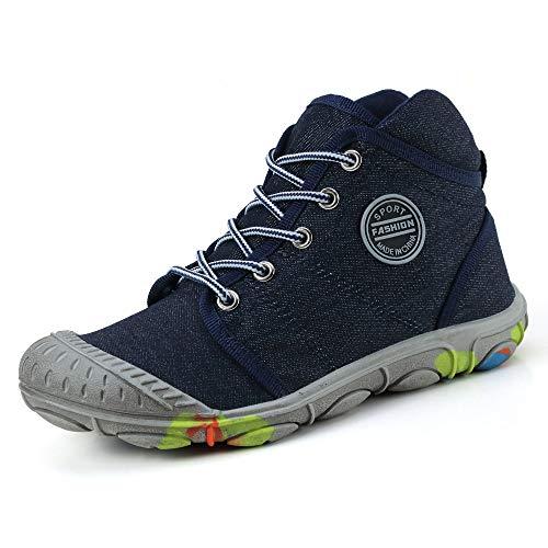 XIANV Schuhe Kinder Jungen Sneaker Cowboy Sportschuhe Mädchen Outdoor Laufschuhe High-top Schnürer Schmutzige Schuhe (33 EU, Blau)