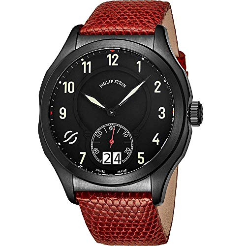 Philip Stein Men's 47mm Red Lizard Leather Band Swiss Quartz Watch 17BSBKLZR