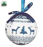 Guirma Palline con Decorazione Renna per Albero Natale, Blu/Bianco, 6 cm