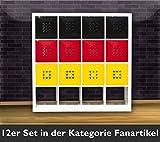 12er Set Deutschland Fahne farbige Regal-Tür für Würfelformregale, Fachgröße ca. 33,6 x 33,6 cm