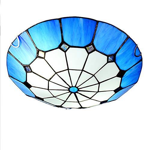 Tiffany stil 3 Flammig Deckenleuchte, Erröten-einfassung Round Glas klar Lampenschirm Deckenlampe 16