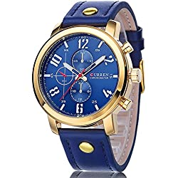 Curren Men's Chronograph Quartz Watch with Leather Strap Gold Blue