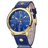 CURREN–Bracciale da uomo orologio Cronografo al Quarzo Cinturino in pelle oro blu