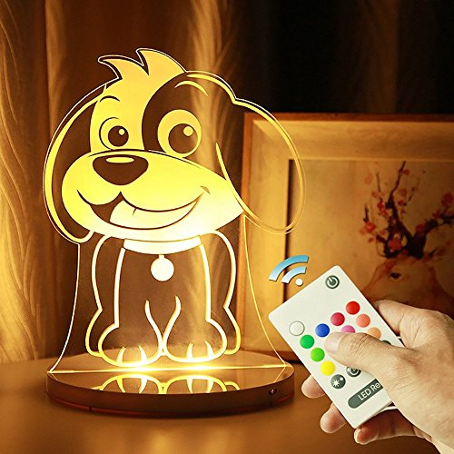 Veilleuse lumières 3D acryliques colorées en trois dimensions télécommande lampe magique famille conduit anniversaire lampe chambre de vacances lampe de chevet à faible consommation d'énergie peut être chronométré cadeau