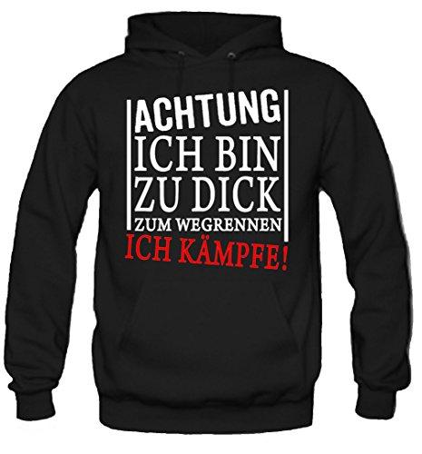 Zu Dick - Ich Kämpfe Kapuzenpullover | Sport | Männer | Herren | MMA | Lustige | Witzige | Sprüche | Kostüm | Fun (XL, Schwarz) (College Kostüme Lustig)