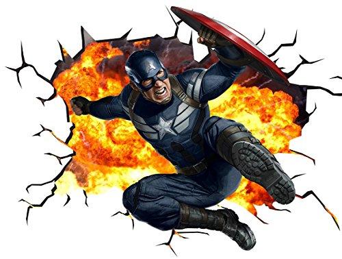 Marvel Avengers Captain America V002Wall Crack Smash Wandtattoo selbstklebende Poster Wall Art Größe 1000mm breit x 600mm tief (groß) (Marvel Avengers-fenster Aufkleber)