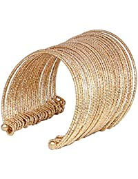 JDX Gold Plated Cuff Bangles For Women And Girls_Adjustable