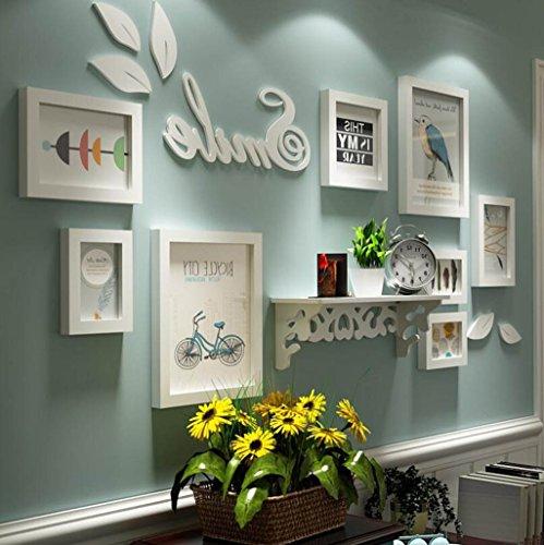 8 Stück Massivholz Fotowand und Regal, Wand hängen Bilderrahmen Set Kombination, weiße Bilderrahmen Galerie Kits Collage für Zuhause Schlafzimmer Wohnzimmer Wand Dekor (Color : B) -