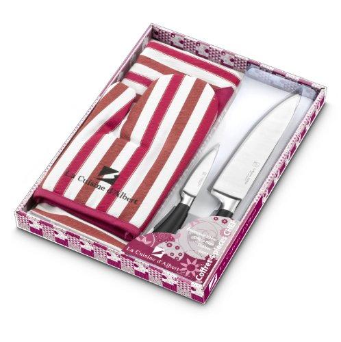 La Table d'Albert 009950 Set de 4 Pièces 2 Couteaux de Cuisine + 1 Couteau d'Office + 1 Couteau de Chef Acier Inoxydable Fuchsia