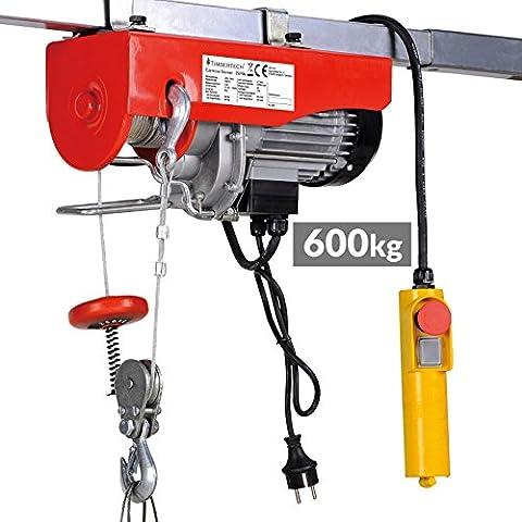 Timbertech Elektrische Seilwinde mit Kabel-Fernbedienung Motorwinde Tragfähigkeit 600 kg, 230 V