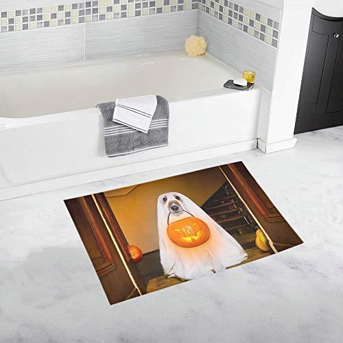 LMFshop Hund sitzen Ghost Halloween Haustür benutzerdefinierte rutschfeste Badematte Teppich Bad Fußmatte Boden Teppich für Badezimmer 20 X 32 Zoll