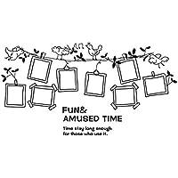 Marco de fotos de flores Home Accent de vinilo adhesivo decorativo para pared 60 x 90 cm negro