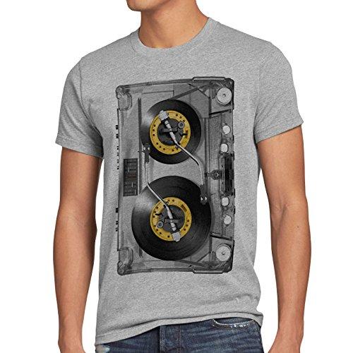 style3 Nonstop Play T-Shirt Herren kassette fotodruck turntable schallplatte, Größe:XXL;Farbe:Grau meliert