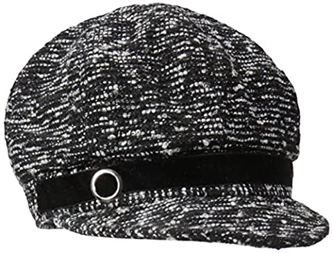 Nine West Women's Metallic Newsgirl Hat, Black/White, One