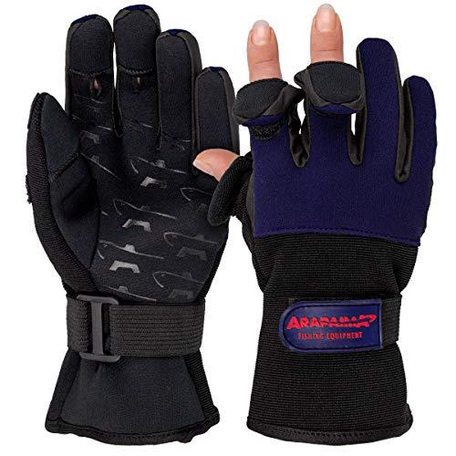 Neopren Angelhandschuhe 'Wizard' | Fishing Gloves | Angel Handschuhe - Navy/Schwarz - M
