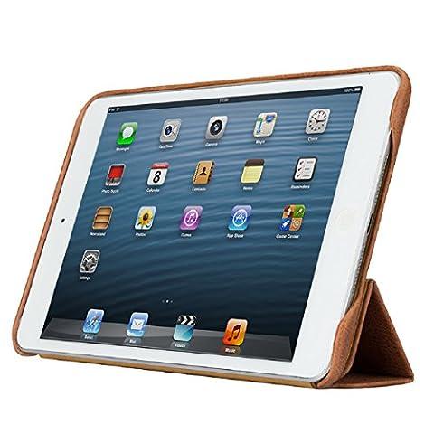 Vintage Genuine Leather Case for iPad Mini, Jisoncase Multi Angle Stand Retro Classic Style Portfolio Folding Premium Genuine Leather Smart Sleeve Compatible for iPad Mini 3 / 2 / 1 Brown