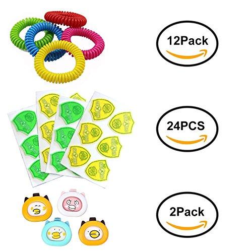 Fancathy Natürliche Mückenschutz-Combo-Kit für Kinder und Erwachsene-12 Pack Repellent Armband, 24 Stück Patch und 2 Pack Moskito Abzug
