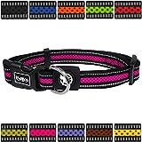 DDOXX Hundehalsband reflektierend Air Mesh | für große & Kleine Hunde | Katzenhalsband | Halsband | Halsbänder | Hundehalsbänder | Hund Katze Katzen Welpe Welpen | klein breit bunt | Pink, S