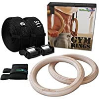 BeMaxx Fitness Olympic Gym Rings Door Anchor Attachment & Training Guide – Safety Straps + Length Markings | Premium Birch Wood | For Workout, Home Exercise, Body Building | Adults, children