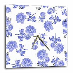 3dRose Blue and White Flower Pattern Inspired by Oriental Porcelain and Delft - Wall Clock, 10 by 10-Inch (dpp_183969_1)