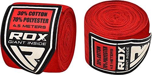 RDX Bandes Boxe Bandage /Élastiqu/é MMA Prot/ège Poignet 4,5 M/ètres Bande dentrainement Muay Thai Hand Wraps Pack de Trois Paires