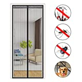 Moskito-Vorhang, Aimego 90 * 210CM magnetisches Moskitonetz für magnetische Vorhang-Tür mit Flausch und Magneten Moskito-Insekten-Fliegen-Insekt usw., schwarz
