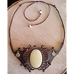 Collar macrame con piedra Onix vintage