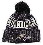 New Era NFL Sideline Bobble Knit 2018/2019 Season Beanie (Baltimore Ravens)