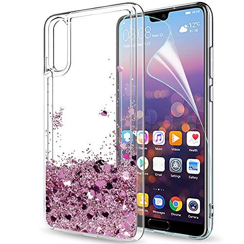 LeYi Custodia Huawei P20 Glitter Cover con HD Pellicola,Brillantini Trasparente Silicone Gel Liquido Sabbie Mobili Bumper TPU Case per Huawei P20 ZX Rot Rosa Rose Gold