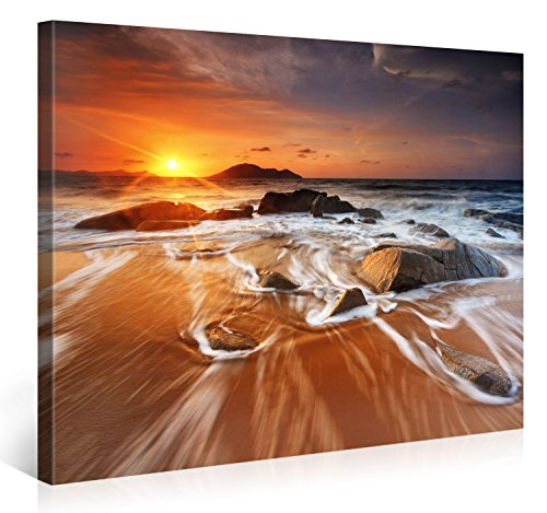 Gallery of Innovative Art - Bright Sun Island Beach - 100x75cm - Larga stampa su tela per decorazione murale - Immagine su tela su telaio in legno - Stampa su tela Giclée - Arazzo decorazione murale
